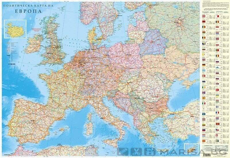 Stenna Karta Na Evropa Politicheska Knizharnici Marisa